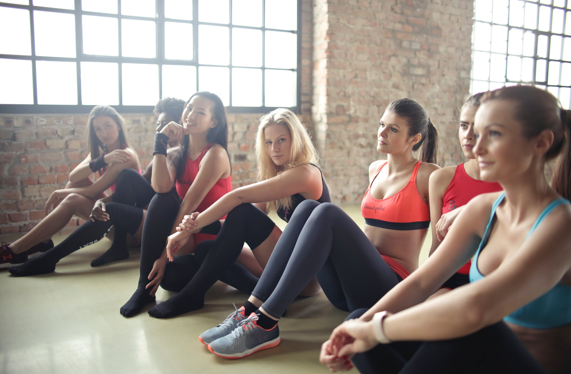 group of woman in yoga class